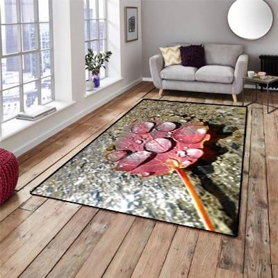 Else Dark Gray Stones Red Dried Leaf On Water 3d Print Non Slip Microfiber Living Room Decorative Modern Washable Area Rug Mat