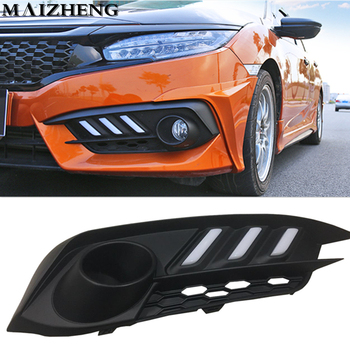 urning Signal style relay 12V Car LED DRL Daytime Running Lights Accessories with Fog Lamp hole  For Honda Civic 10th 2016 2017