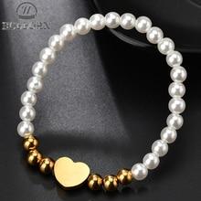 HOBBORN Fashion White Imitation Pearl Stretch Bracelet Armband Women Gold Color Stainless Steel Heart Charm Bracelets Pulseira