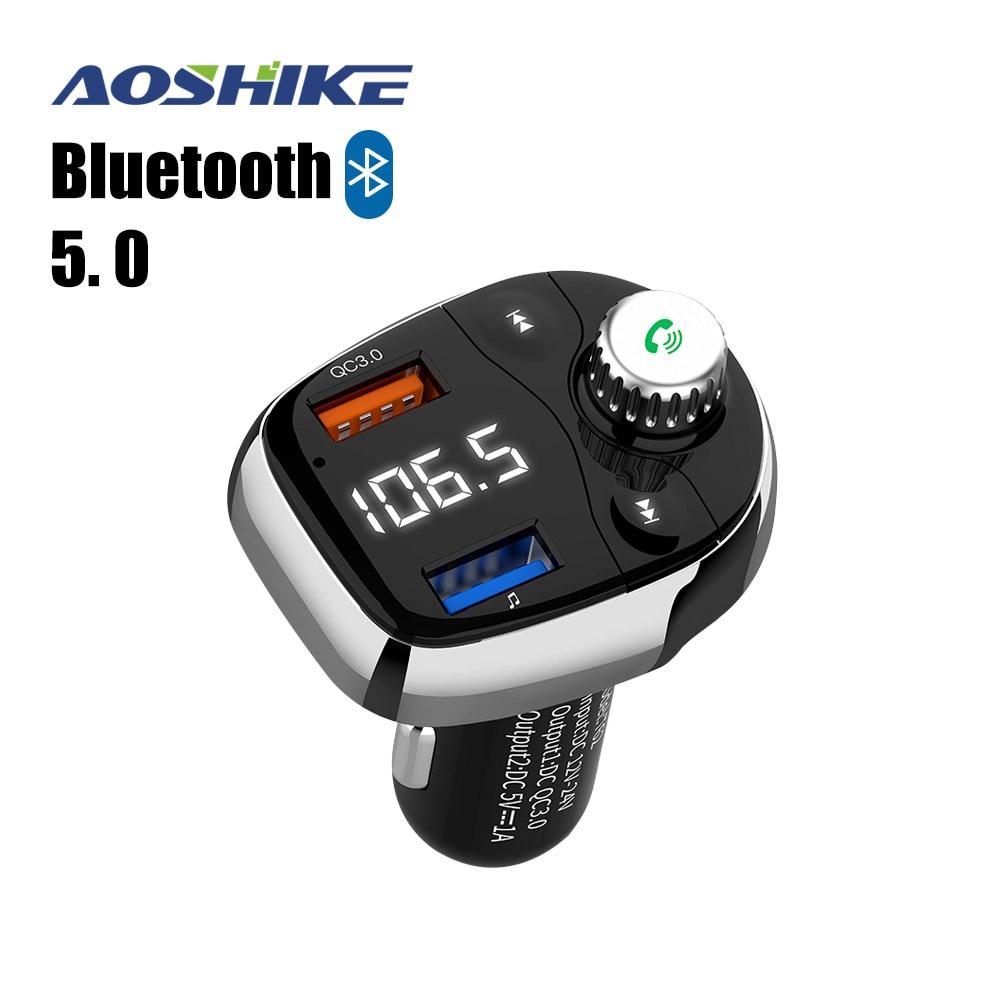 Aoshike FM передатчик Bluetooth Беспроводной fm модулятор Радио Hands Free Car Kit MP3 аудио плеер с USB Автомобильное Зарядное устройство TF U-in FM-трансмиттеры from Автомобили и мотоциклы