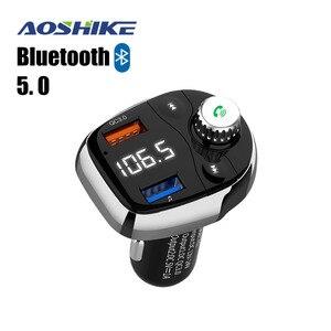 Image 1 - Aoshike transmisor FM inalámbrico por Bluetooth, modulador de Radio FM manos libres, reproductor de Audio MP3 para coche, con cargador USB, TF U