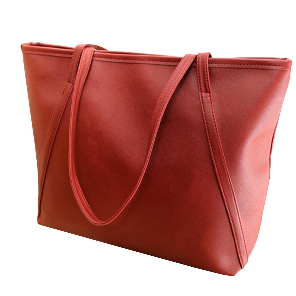 Women's Leather Handbags Women Zipper Casual Tote Bag Women Fashion Big Shoulder Bags Female Top-Handle Bags women s waterproof fashion zipper opening square tote bag yellow