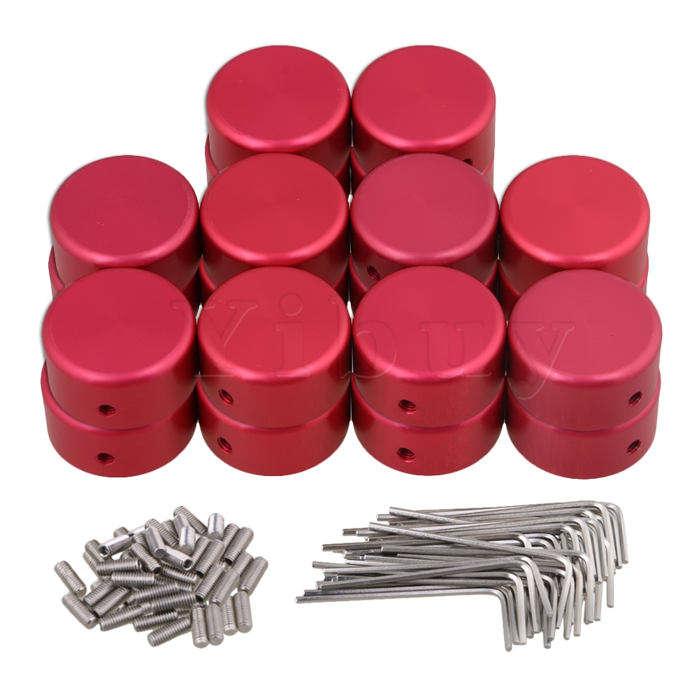 YIbuy 20 Pieces Red Guitar Effects Parts Stomp Switch Pedal Box Foot Knobs