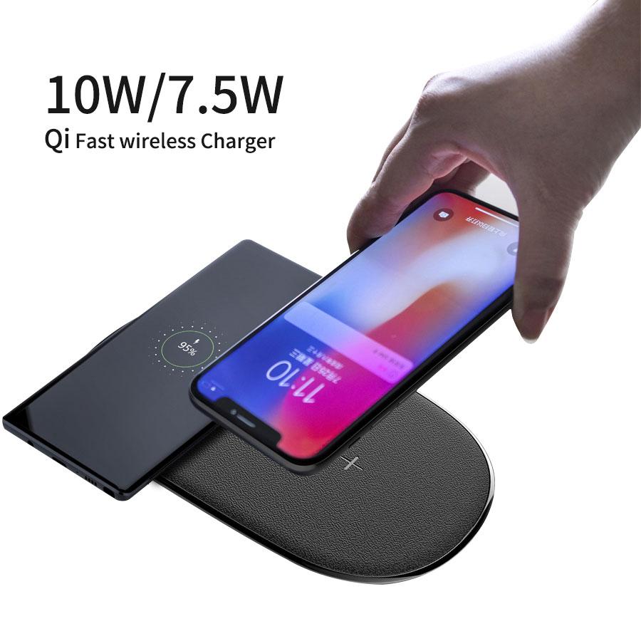 NILLKIN 2 in 1 Qi Veloce Caricatore Senza Fili per iPhone X XS Max/XS/8/8 Più per Samsung Galaxy S8/Nota 8/S9 pad di ricarica senza fili