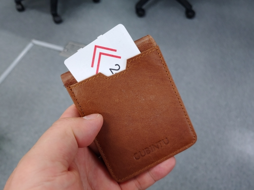 Slim Leather ID/Credit Card Holder Bifold Front Pocket Wallet with RFID Blocking Business card holder 100% genuine leather photo review