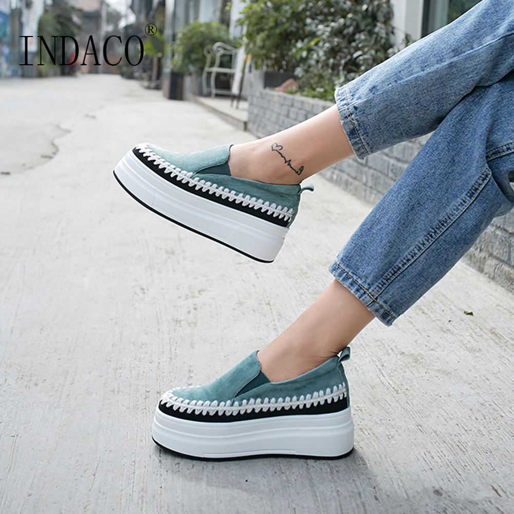 Casual Chaussures Plate-Forme Des Femmes Sneakers Chaussures En Cuir Femmes Mocassins Vert Jaune 5 cm
