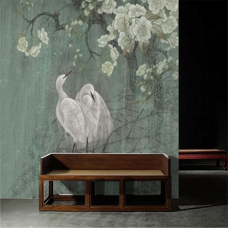 Egret Chinese Painting New Chinese Style Wall Art Pen Hand