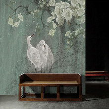 Egret Chinese painting new style wall art pen hand-painted flowers and birds vintage custom wallpaper mural