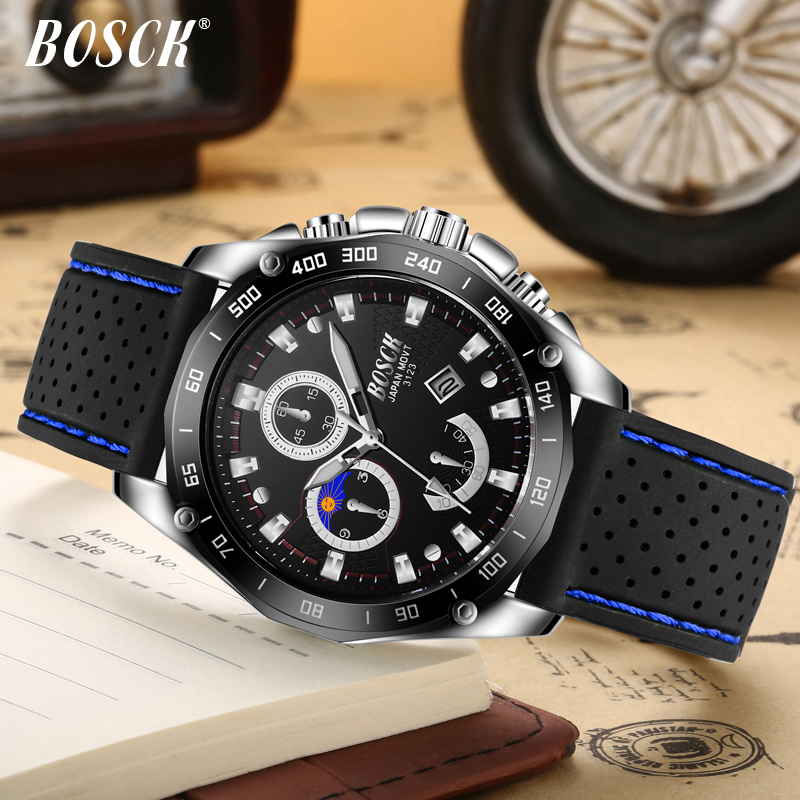 Męskie Zegarki Top Marka BOSCK Luxury Fashion Business Zegarek - Męskie zegarki - Zdjęcie 4