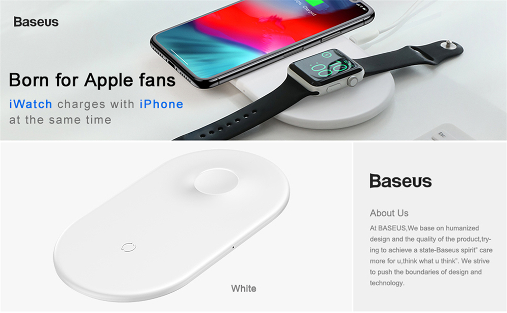 BASEUS BSWC-P19 Double Bases Smart 2-in-1 Wireless Charger Fast Charging Pad - White
