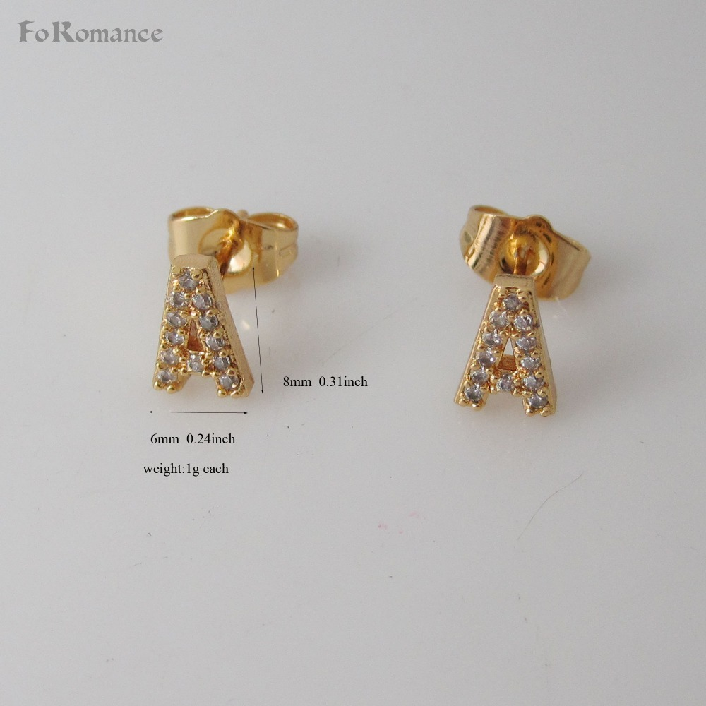 FoRomance/ZIRCON STONES INSERTED LETTERS INITIALS SHINNING  STUD EARRING 26 LETTERS YELLOW GOLD GP - GOLD COLOR OVERLAY