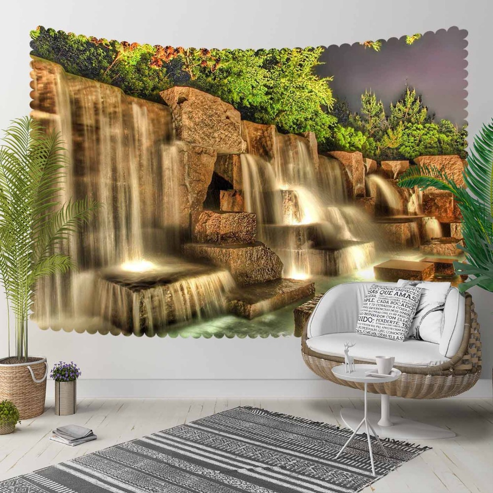 Else Brown Mountain Waterfall River Green Florals 3D Print Decorative Hippi Bohemian Wall Hanging Landscape Tapestry Wall Art