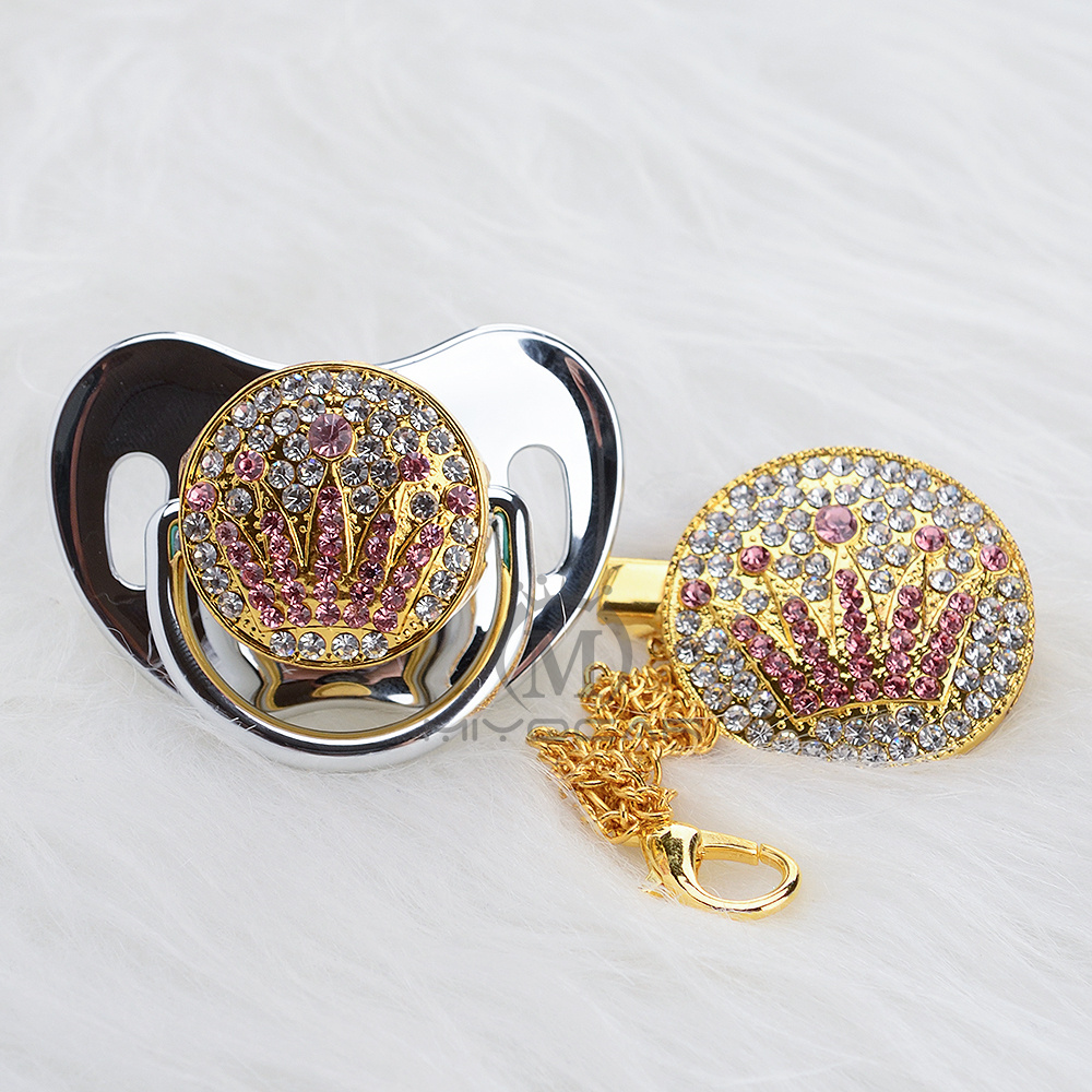 MIYOCAR bling unique design gold pink crown pacifier and clip set BPA free sgs pass safe to baby pacifier holder APCG