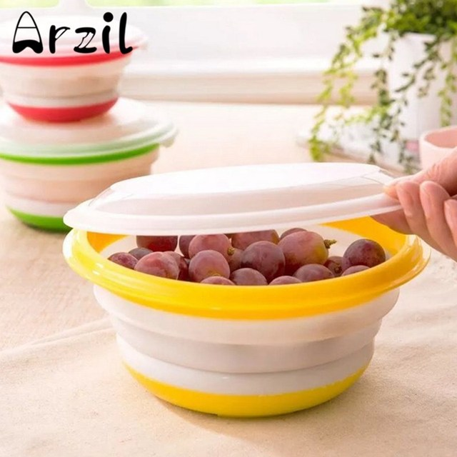 3PcsSet Silicone Collapsible Food Containers Storage Boxes Bowls