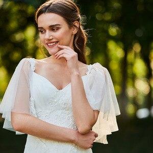 Image 4 - Dressv marfim mermaid lace vestido de noiva pescoço namorada mangas curtas até o chão de noiva ao ar livre & igreja vestidos de casamento