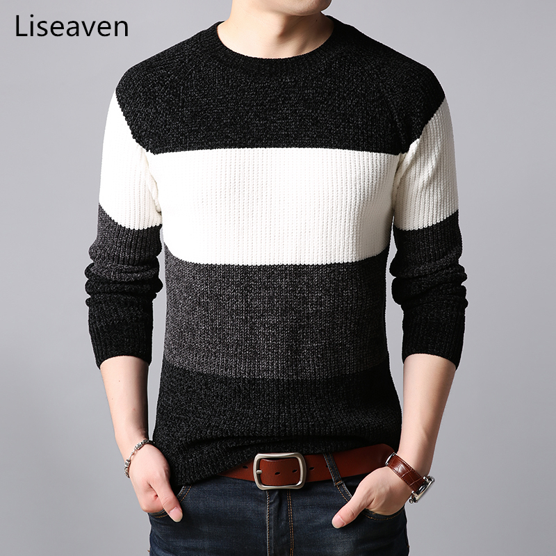 Liseaven Mens Thick Sweater Pullovers Patchwork O-neck Sweater Jumpers Male Knitwear Men's Clothing
