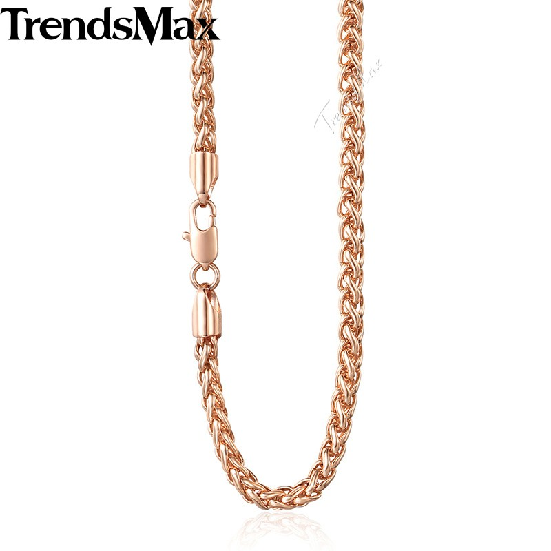Trendsmax 4mm Nouveau 585 Or Bijoux Femmes Hommes Collier Long 45 cm 50 cm 55 cm 60 cm Blé lien Chaînes GN255