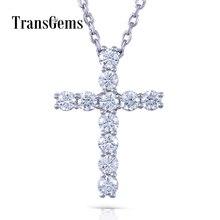 Transgems 14K 585 White Gold Cross Shaped 3MM*11pcs F Color Moissanite Brilliant Cross Pendant Necklace for Women Birthday Gifts