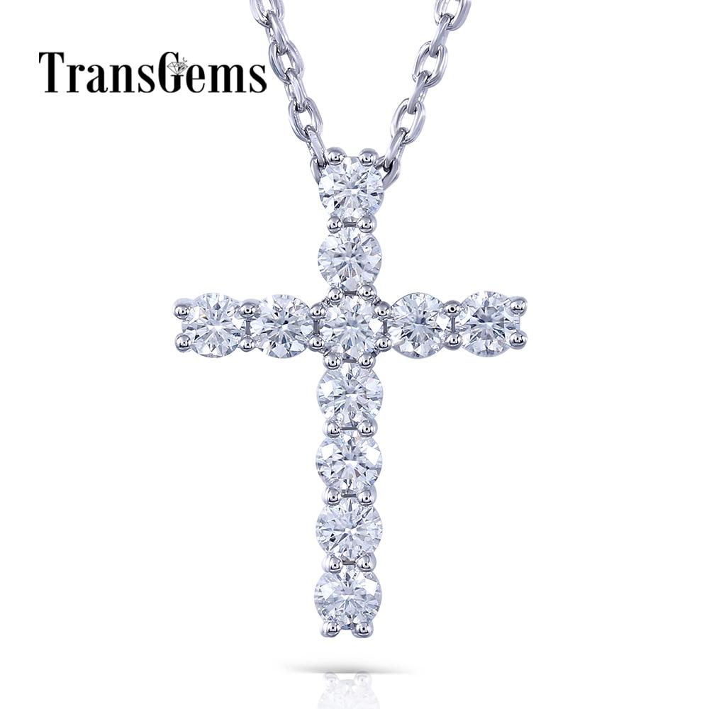 Transgems 14K White Gold Cross Shaped  1.1 CTW  3MM F Color Moissanite Brilliant Cross Pendant Necklace For Women Birthday Gifts