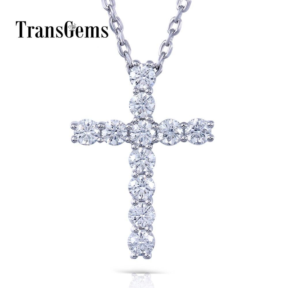 Transgems Cross Shaped 14K White Gold Moissanite 3MM F Color 1.1 CTW Brilliant Cross Pendant Necklace for Women недорго, оригинальная цена