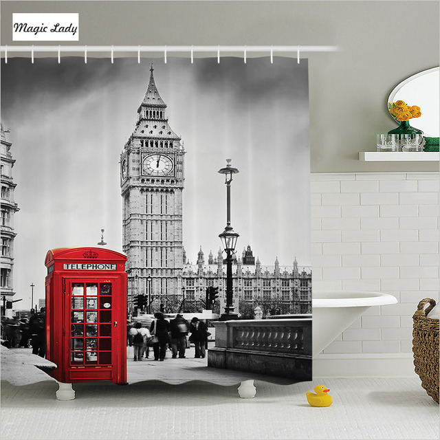 Shower Curtain Bathroom Accessories London UK Telephone Art Big Ben Britain  England Street Red Grey 180