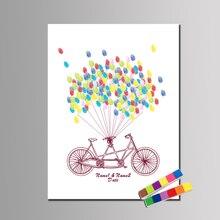 Свадьба отпечатков пальцев Гостевая книга тандем велосипед thumbprint Гостевая книга одежда для свадьбы, дня рождения Baby Shower Keepsake шар