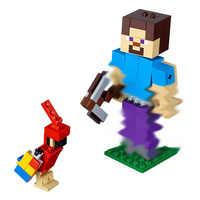 Legoings nowy! 2019 BELA 11166 Steve Big Fig z papugą zestaw Model klocki prezenty urodzinowe zabawki dla dzieci 159 sztuk 21148