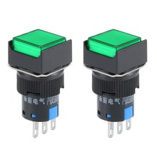 UXCELL 2 Pcs Switches 16mm Latching Push Button Switch Green Square Button 1 NO 1 NC Switch Accessories Electrical Equipment plastic copper push button power switches green 10 pcs