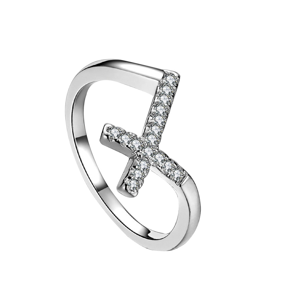 Women Fashion Cross Design Shiny Zircon Finger Ring Jewelry Wedding Party Gift