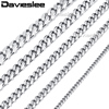 Davieslee Mens Necklace Chain Stainless Steel Gold Silver Black Tone Punk Wholesale Jewelry 3/5/7/9/11mm 18-36inch LKNM07