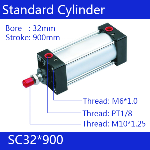 SC32*900 Free shipping Standard air cylinders valve 32mm bore 900mm stroke SC32-900 single rod double acting pneumatic cylinder