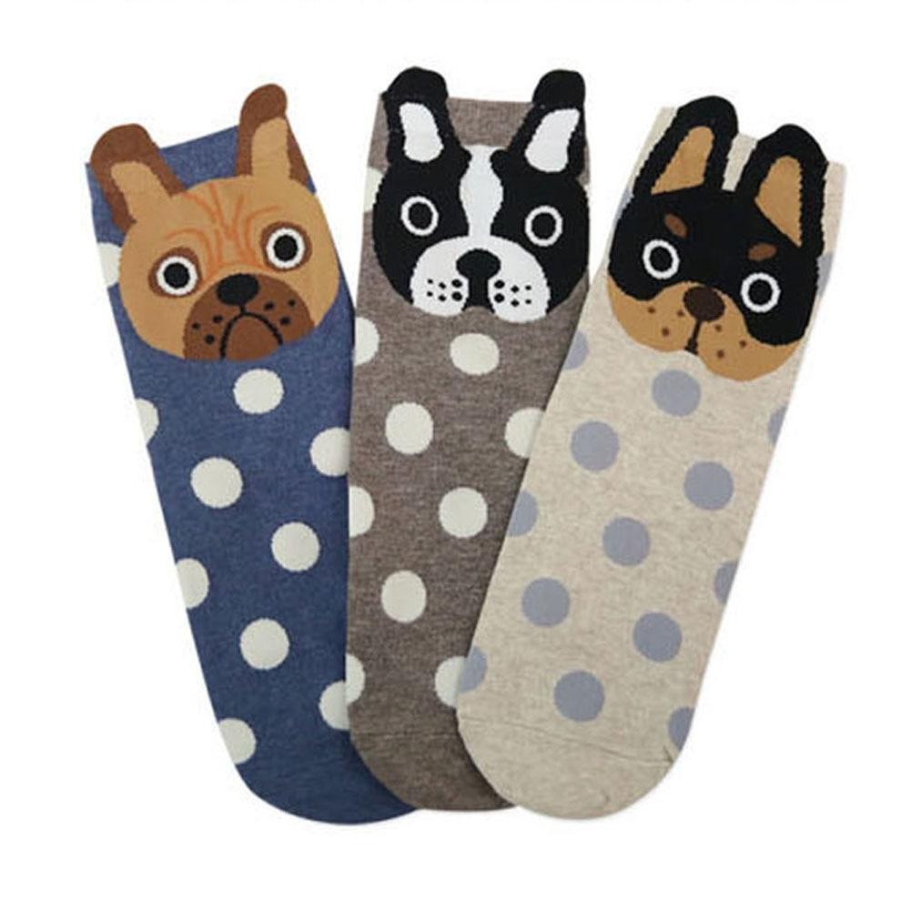 New fashion women lovely spots dogs Socks cute cartoon summer South Korean style Fashion Cotton Printing Tube Socks