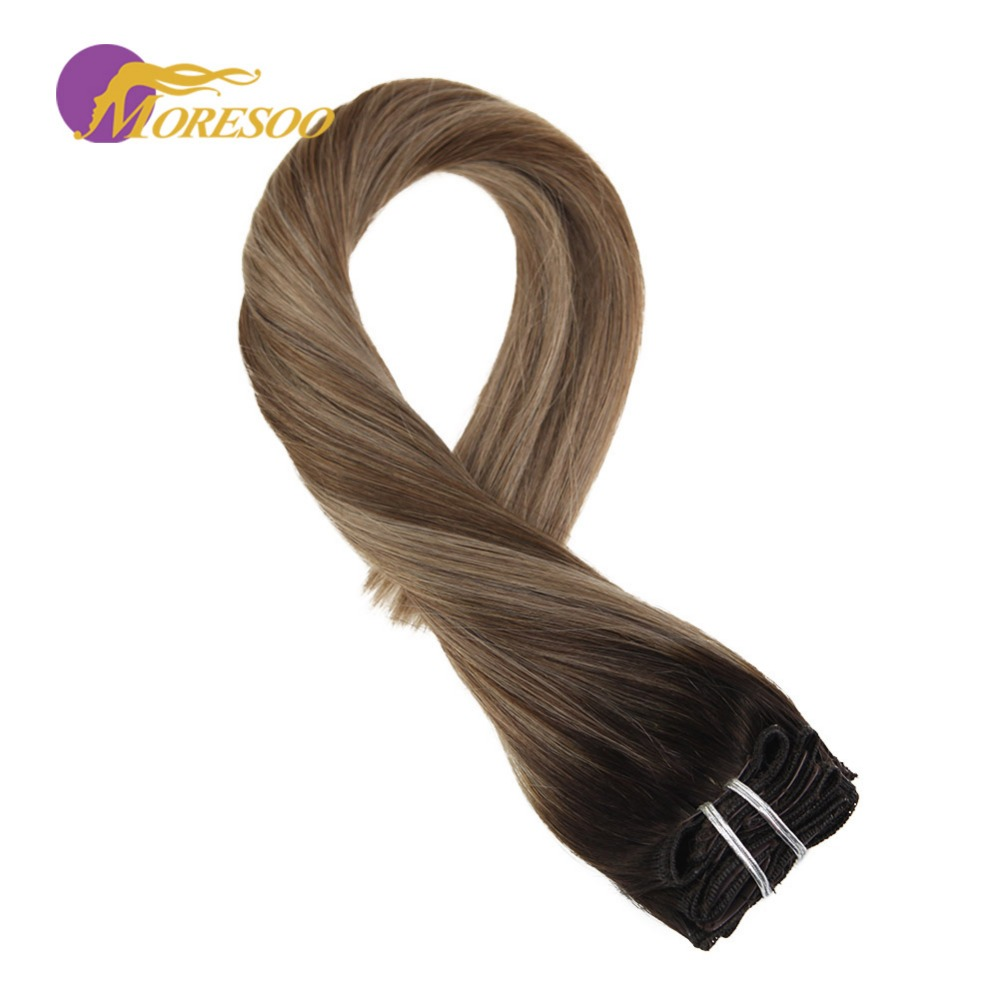 Moresoo Clip In Hair Brown #2 Fading To Brown #8 Highlighted With Brown #12 Real Human Remy Full Thick Head Hair 7Pcs/100G