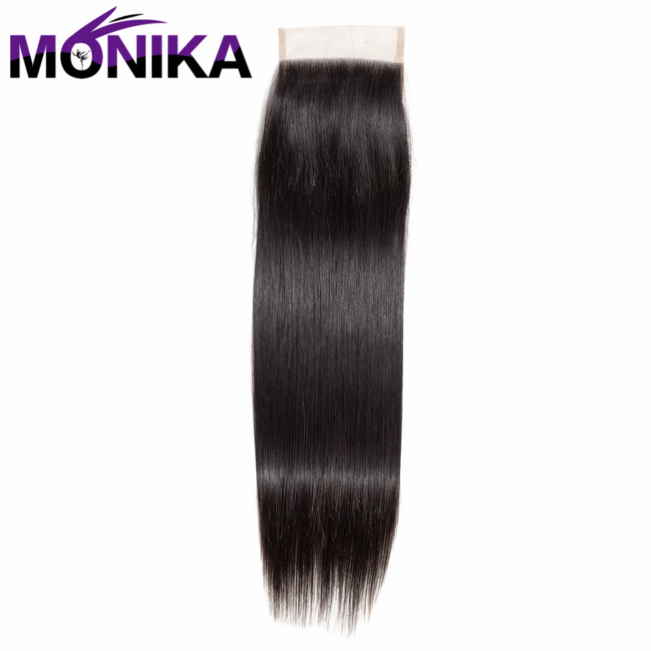 Monika Brazilian Straight Hair Closure 4*4 Non Remy Human Hair Lace Closure With Baby Hair Middle/Free/Three Part Shipping