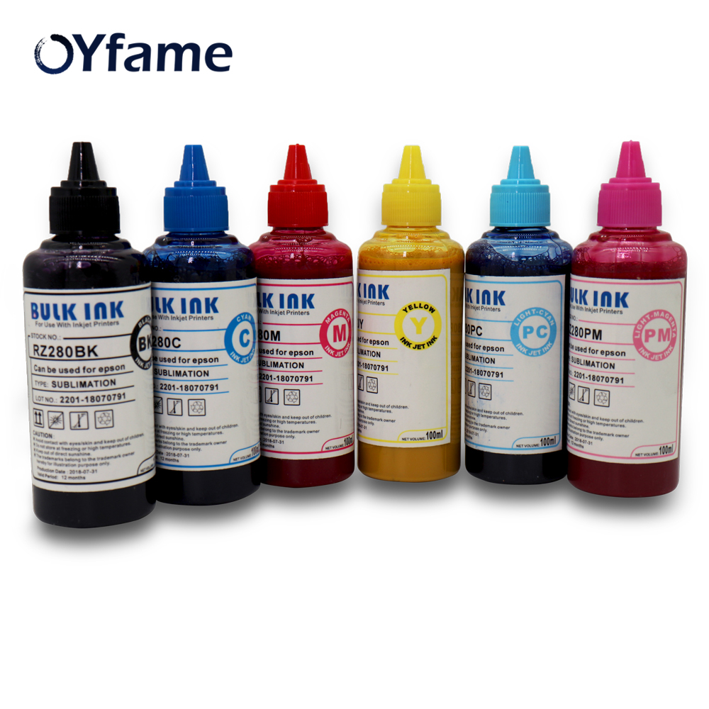 OYfame 6x 100ml Sublimation Ink For Epson inkjet printers all models for cloth plate mug glass