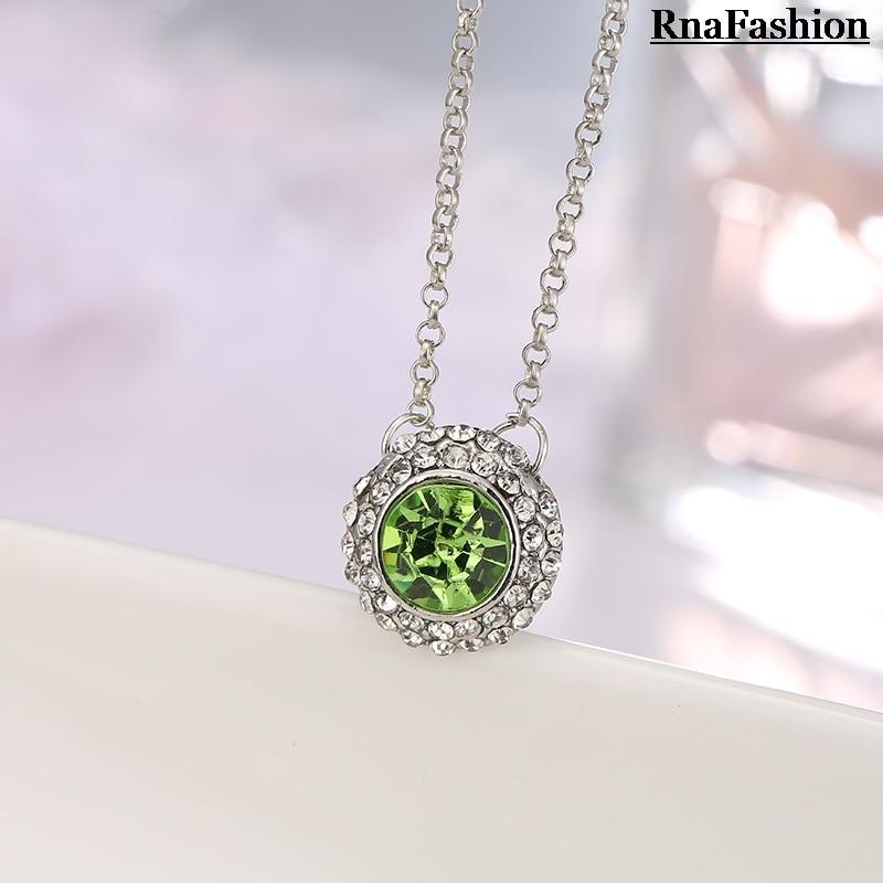 RNAFASHION Jewellery Pendant Necklace Round Shape Austria Crystal Link Chain Vestidos Wedding Necklaces For Women 2017