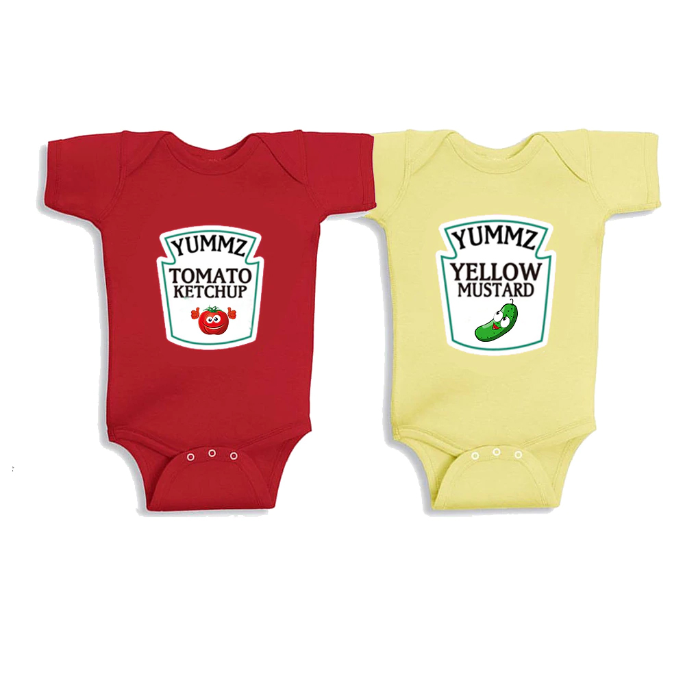 Baby Bodysuits 2PCSSummer Boy Girl Baby Clothes Red and Yellow Tomato Ketchup Yellow Mustard Twin Bodysuits and Matching BibBaby Bodysuits 2PCSSummer Boy Girl Baby Clothes Red and Yellow Tomato Ketchup Yellow Mustard Twin Bodysuits and Matching Bib