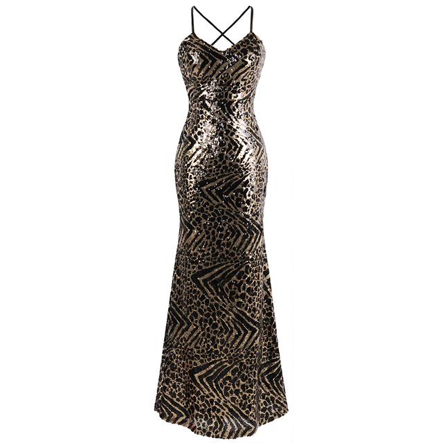 13684848a46 Angel-fashions Women s V Neck Pattern Golden Sequin Prom Gown Spaghetti  Strap Long Bodycon Evening Dress 441