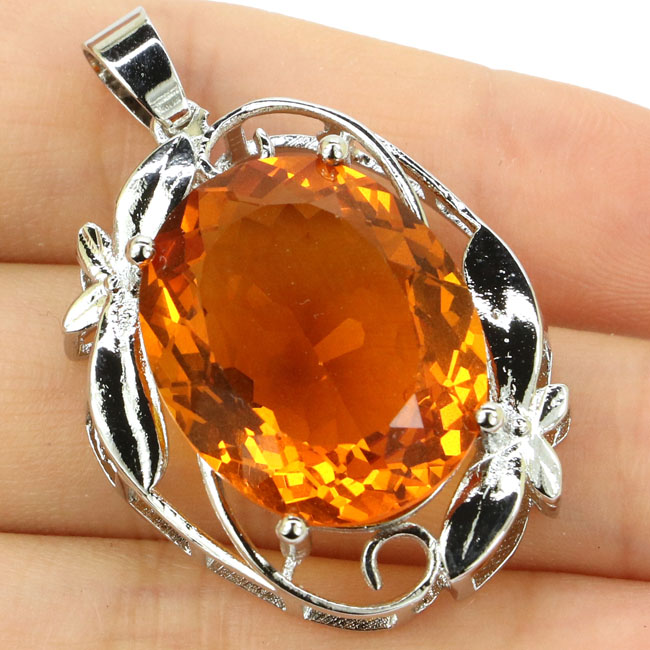 SheCrown Big Oval Gemstone Heavy 10.2g Oval Golden Citrine Party Womans Silver Pendant 40x23mmSheCrown Big Oval Gemstone Heavy 10.2g Oval Golden Citrine Party Womans Silver Pendant 40x23mm