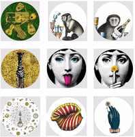 El más nuevo diseño de Italia Piero Fornasetti platos Plato decorativo de pared Vintage arte 8 pulgadas placa colgante de pared Decoracao Para Casa