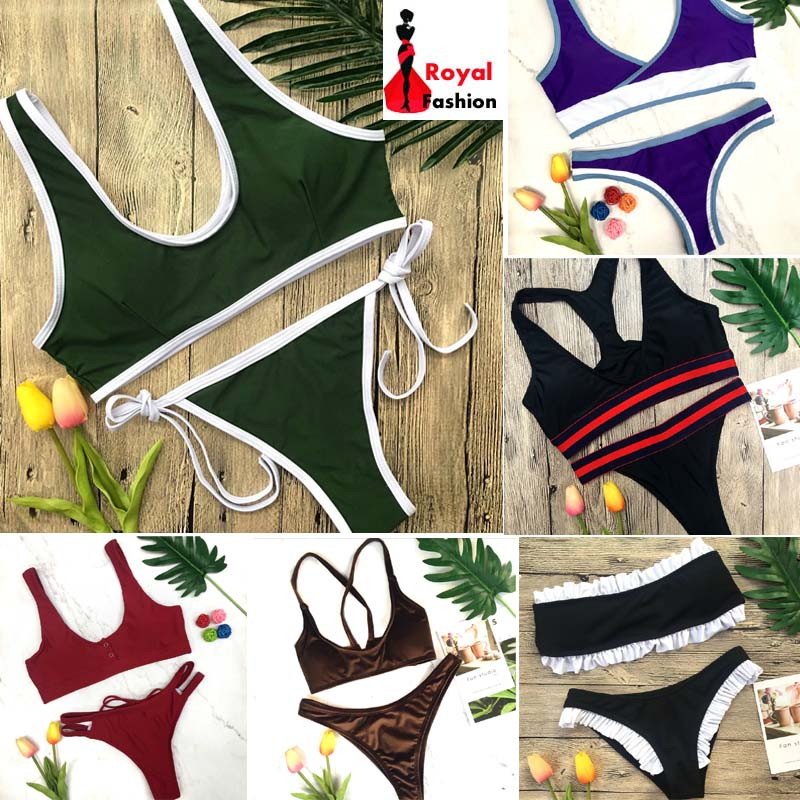Luoanyfash 2018 New Sexy Bikinis Women Swimwear Push Up Swimsuit Halter Top Biquini Padded Bathing Suit Bandage Brazilian Bikini