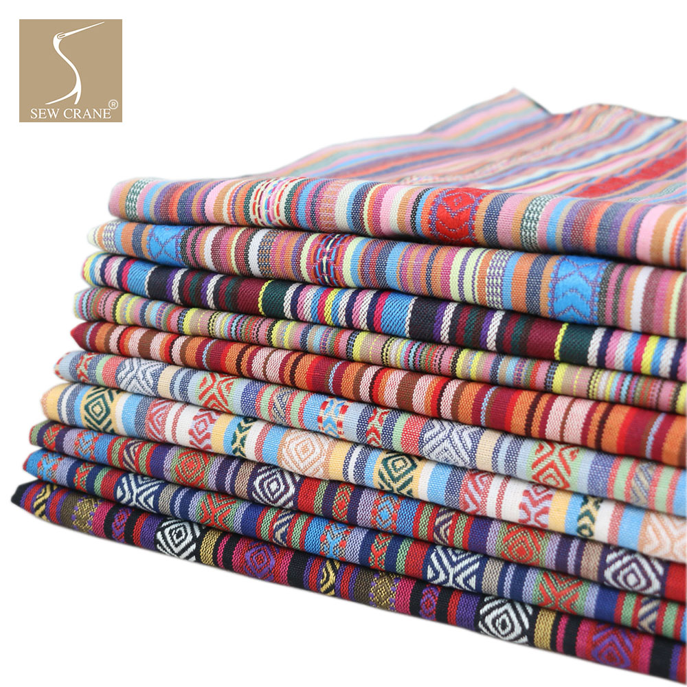 150cm Wide Cotton Blend Bohemian Rainbow Striped Upholstery Fabric