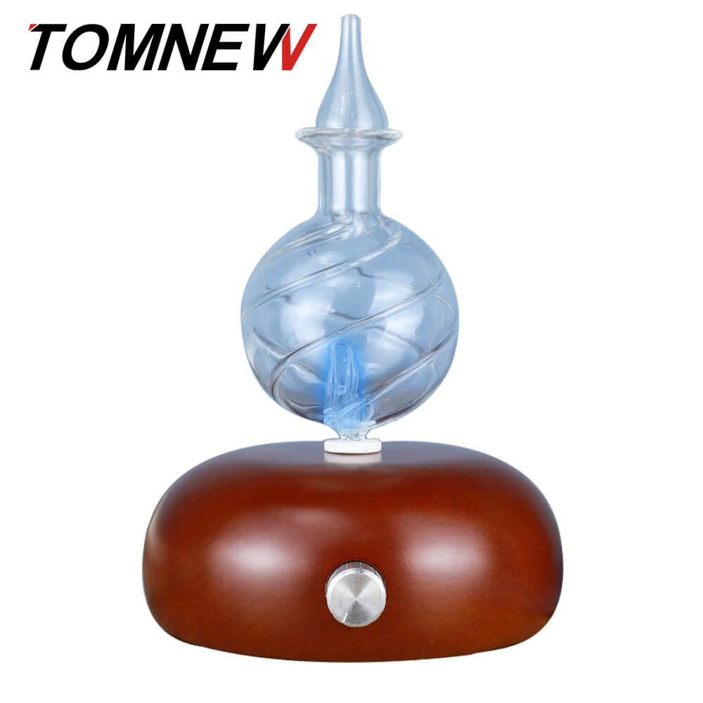 TOMNEW Verre Encens Aromatique Machine Bois Arôme Aromathérapie Brumisateur Mist Maker Huile Essentielle Diffuseur avec 7 Couleurs LED Lumière