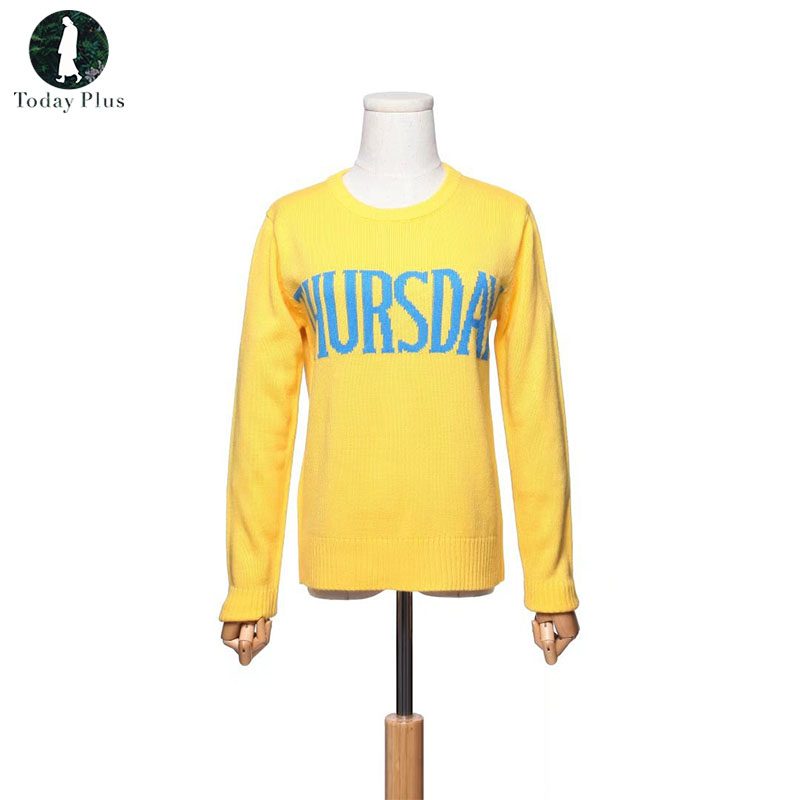 2018 Fashion Week Women Sweater Chic Knitting Jumper Monday Tuesday Wednesday Thursday Friday Saturday Sunday Runway Pullover ...
