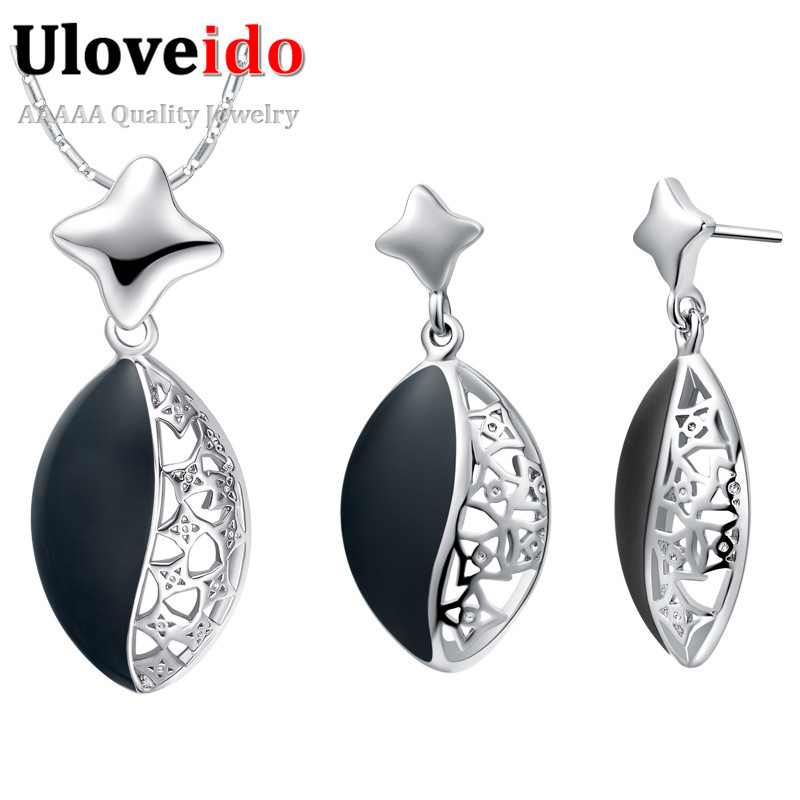 Uloveido Black Enamel Bridal Wedding Earrings and Necklace Set Silver Color Jewellery Sets for Women Sieraden Sets 49%off T463