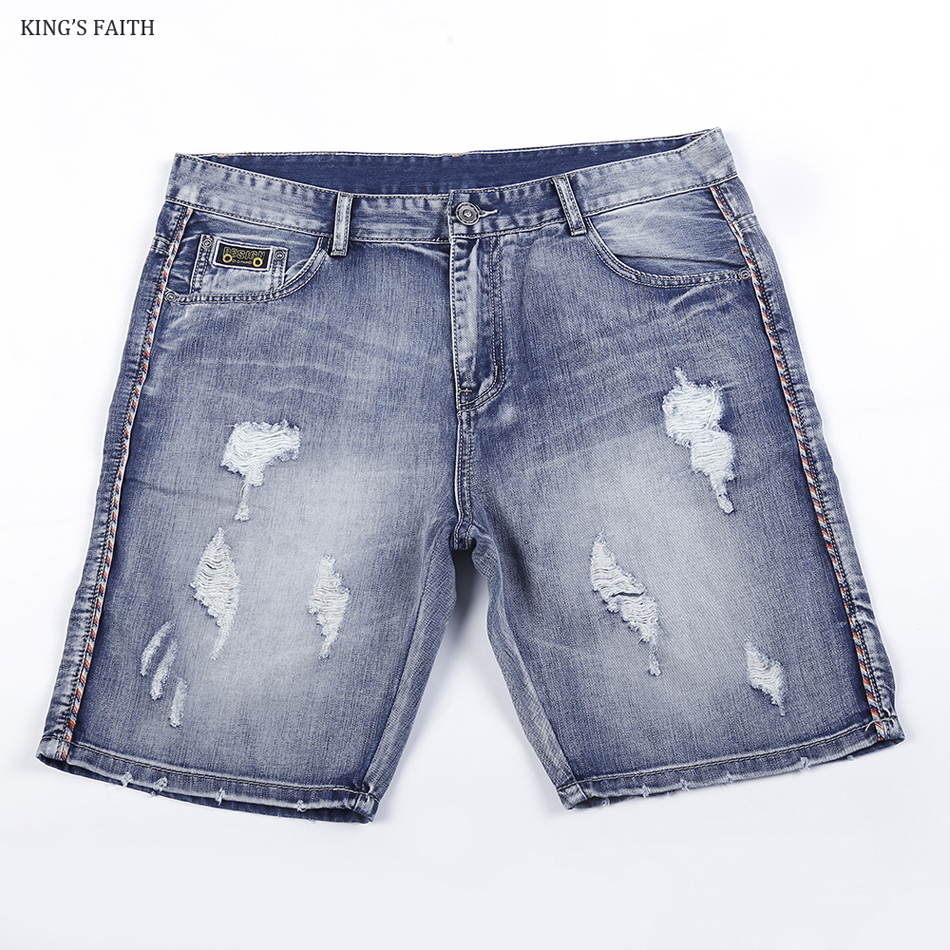 King's Faith 2017 Summer New Fashion Brand Mens Hole Ripped Short Jeans Bermuda Silm Fit Men Denim Knee Length Shorts Casual 684