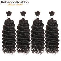 Rebecca Malaysian Deep Wave 4 PCS Human Hair Braiding Bulk No Weft 10 To 28 30 Inch Remy Bulk Human Hair Natural Color