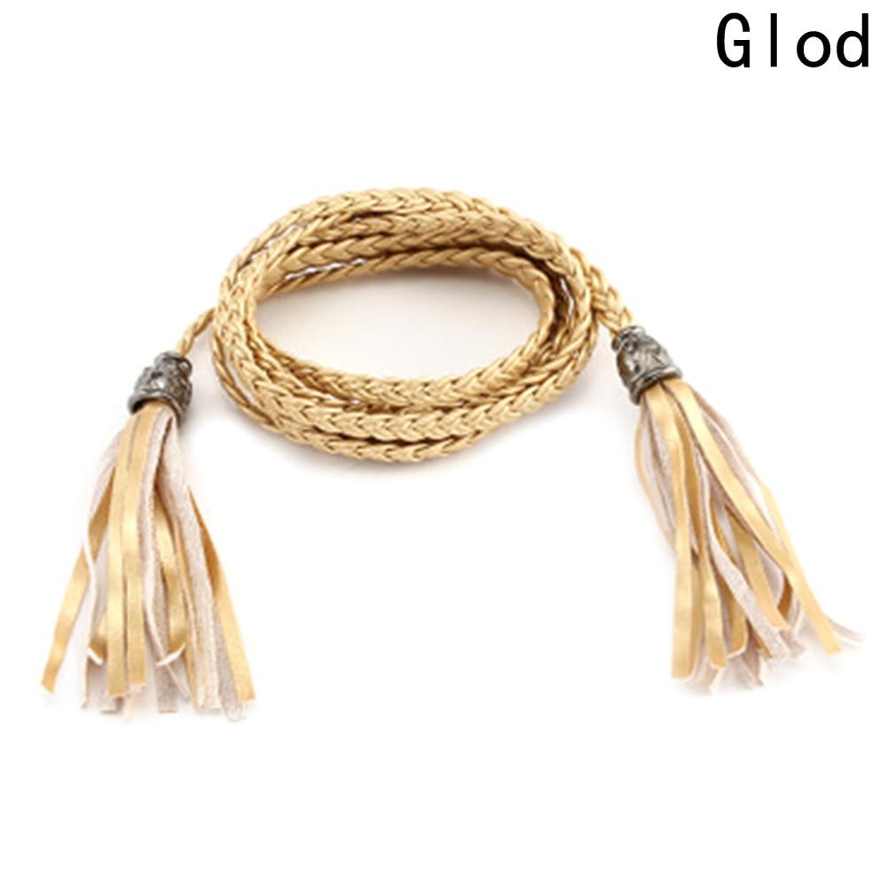 New Fashion Leather Tassel Waist Belt For Female Women's 120-130 cm Long Chain Hand-woven Waistband Belt Bow Thin Belt