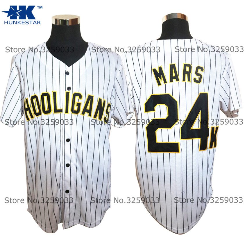 Mens Bruno Mars Jersey #24 24K Hooligans Pinstriped BET Awards Throwback Baseball Jersey MAN Uniforms Stitched Button Down Shirt plaid embroidered button down shirt