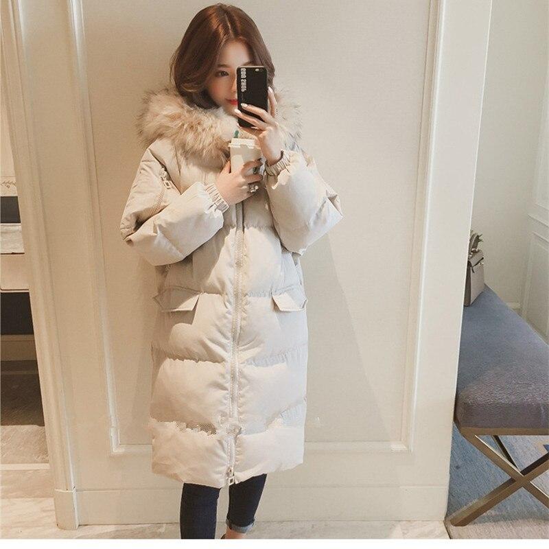 New long parka 2018 women winter hooded warm coat cotton padded jacket female